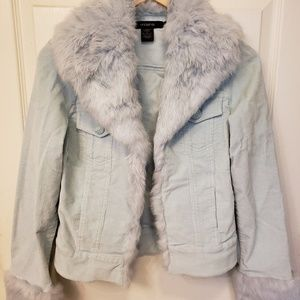 Light Blue Soft Corduroy Jacket